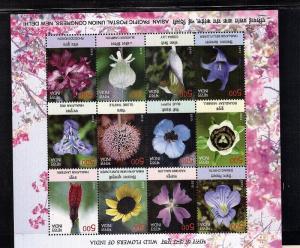 Wild Flowers of India  12 var.  sheetlet   mnh