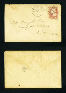 # 65 on cover from Castleton, Vermont to Quincy, Massachusetts from 1860's