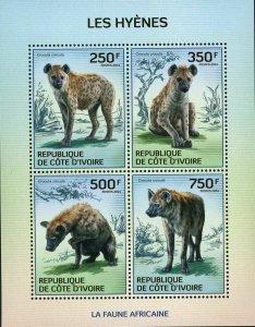 Hyenas Stamp Wild Animal Crocuta Crocuta S/S MNH #1589-1592