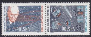 Poland Scott 2714-5 = 2715a MNH** 1986  comet space set