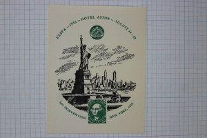 EXSPA 1952 SPA Convention NY Statue of Liberty show label souvenir ad poster