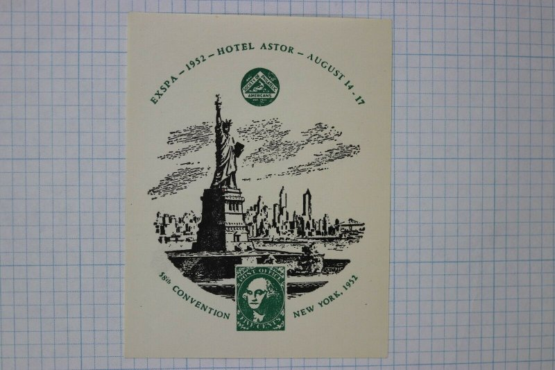 EXSPA 1952 SPA Convention NY Statue of Liberty show label souvenir ad poster