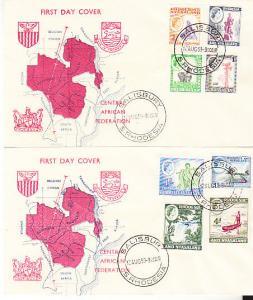 Rhodesia and Nyasaland #158-164 & 166 FDCs - Map Cachet