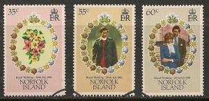 Norfolk Island #280-82 VF Used - 1981 Royal Wedding Issue