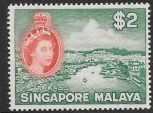 SINGAPORE SG51 1953 $2 BLUE-GREEN AND SCARLET MNH