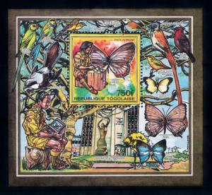 [70638] Togo 1990 Insects Butterflies Birds Scouting Souvenir Sheet MNH