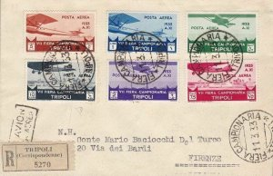 1933 Libya, Mail Aerea N°8/13 - 7a Fiera Di Tripoli The Series Su Letter Via