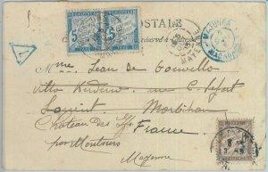 81176 - MADAGASCAR - POSTAL HISTORY -  POSTCARD to FRANCE 1903 TAXED on arrival