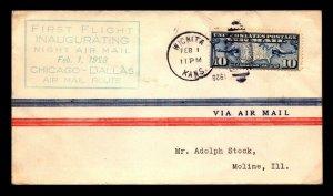 US 1928 Feb. 1 CAM 3 First Night Flight Wichita - Moline - L8120