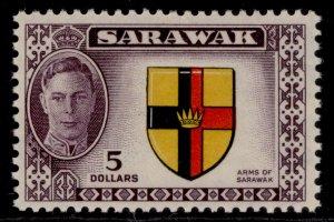 SARAWAK GVI SG185, $5 black, yellow, red & purple, M MINT. Cat £35.