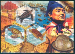 MALAWI 2012 TURTLES ZHENG HE PART I SHEETLET OF THREE STAMPS