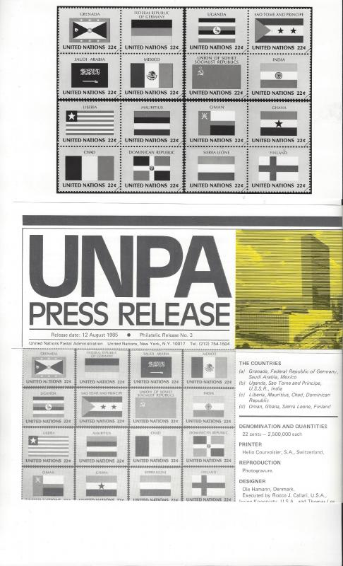 United Nations Press Releases 1985, 2 Dif. Including UN University Issue