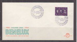 NETHERLANDS, 1964 BENELUX 15c. on First Day cover.
