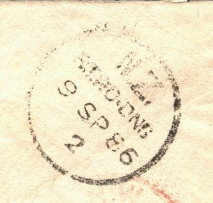 NEW ZEALAND Railway Mail 1886 *NZRTDNS* TPO CDS Roxburgh Cover London W372a