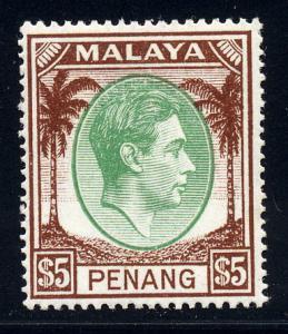 Malaya Penang 1949 Sg 22 $5 green & Brown, fine mint