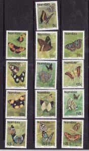 Namibia-Sc#742-54 ex 745A- id5-unused NH set-Insects-Butterflies-1993-