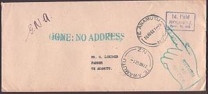 NEW ZEALAND 1952 cover to Te Awamutu : Gone No Address