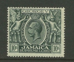 JAMAICA 1921/3  Sg 106, 10/- Myrtle-Green, Av. Mounted Mint with fault. {B9-72}