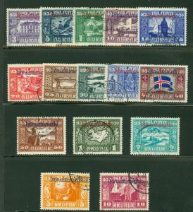 ICELAND #O53-67 Parliament Official Set used scarce, Scott $2,250.00