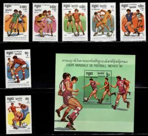 Cambodia Scott 645-652 MNH** 1986 Soccer world cup set and souvenir sheet