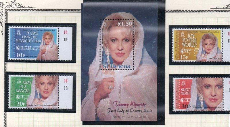 St Helena Sc 779-83 2001 Tammy Wynette stamp set & sheet mint NH
