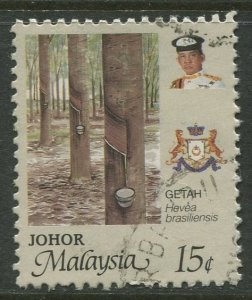 STAMP STATION PERTH Johore #194 Sultan Ismail Flowers Used 1986