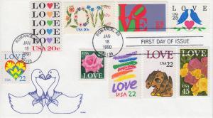 1990 Love Stamp (Scott 2440) Gamm 9 Love Stamp Combo
