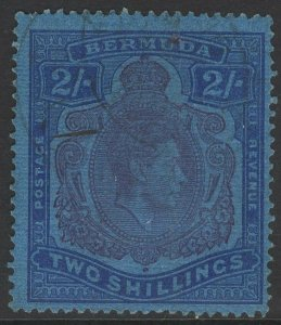 BERMUDA SG116ce 1942 2/= PURPLE & BLUE/DEEP BLUE BROKE LOWER RIGHT SCROLL USED