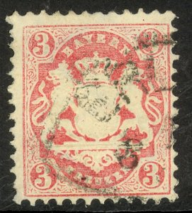 GERMAN STATES / BAVARIA 1870-72 3kr Rose Sc 24 VFU