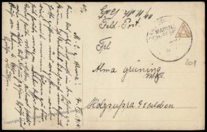 Germany WWI Navy SMS Regensburg MSP201 Feldpost Cover Marineschiffspost 81980