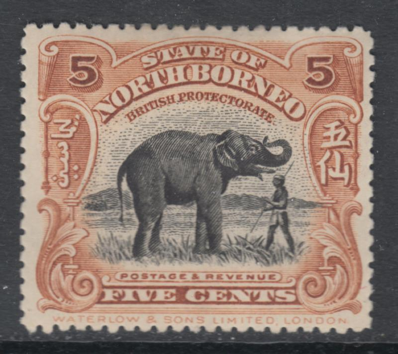 WS-D416 NORTH BORNEO - KEVII, 1909 5C. Yellow Brown, Elephant SG165 £17 MH