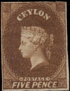 CEYLON #6, 5p orange brown, og, LH, VF, signed, Scott $1,750.00