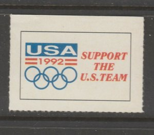 Cinderella revenue fiscal stamp 9-9-20 USA Olympics 1992 mnh fund raiser