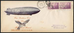 #737 (2) ON USS MACON SOUTHERN, CA. TRAINING CRUISE CACHET COVER 8/8/1934 BT8935