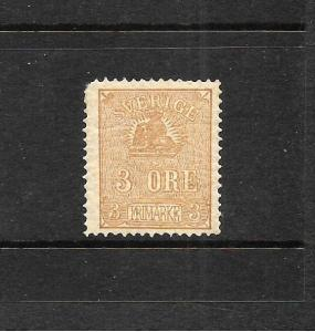 SWEDEN  1862-69  3ore  BISTRE BROWN  MH  Sc 13    SG 12a