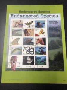 USPS 3105 Endangered Species Souvenir Page First Day Of Issue 1996