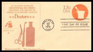 #U574 American Doctor  - Stamped Envelope - Fleetwood Cachet 18EV