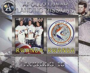 Rwanda Apollo Lunar Landing Missions Souvenir Sheet of 2 Stamps Mint NH