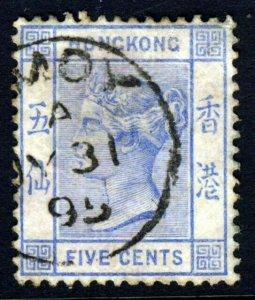 HONG KONG Queen Victoria 1882 5c. Pale Blue Wmk Crown CA SG 35 VFU