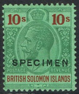 BRITISH SOLOMON ISLANDS 1922 KGV SPECIMEN 10/- WMK MULTI SCRIPT CA
