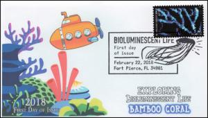 18-071, 2018, Bioluminescent Life, Pictorial Postmark, Bamboo Coral, First Day