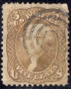 US Stamp #67 5c Buff Jefferson USED (REPAIRED) SCV $750
