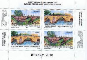 TURKISH CYPRUS - (S/S) EUROPA CEPT (BRIDGES) Stamp, MNH, 2018