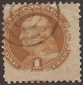 US Stamp - 1869 1c Franklin - G Grill Bullseye Cancel Repaired Stamp #112