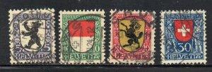 Switzerland Sc B29-32 1924 Pro Juventute Coats of Arms stamp set used