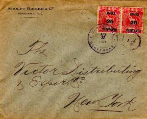 Guatemala 2c National Emblem Overprinted 1903 25 Centavos (2) 1904 Correos De...