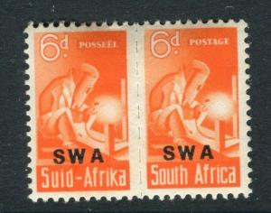 SOUTH WEST AFRICA;  1940s Small War Effort issue fine Mint hinged 6d. Pair