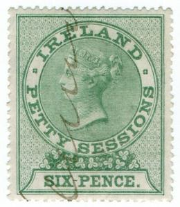 (I.B) QV Revenue : Ireland Petty Sessions 6d (1881)