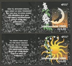 FAROE ISLANDS – 2000 – TWO BOOKLETS – CHRISTMAS ISSUE – w/ FD Cancel