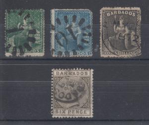 Barbados Sc 13/66 used 1861-1882 issues, 4 diff F-VF appearing